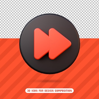 3d rewind icon in 3d rendering isolated