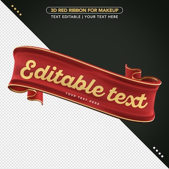3d ribbon with editable text for composition mockup