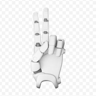 ジェスチャーvictorypeaceハンドサイン分離3dイラストを示す3dロボットの手