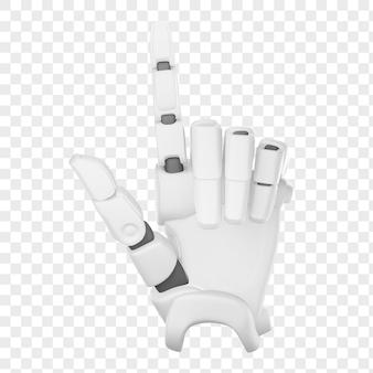 3d рука робота, показывающая номер два, изолированные 3d иллюстрации