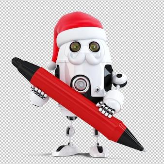 펜을 들고 3d 로봇 산타입니다. 크리스마스 컨셉