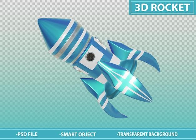 3d rocket blue