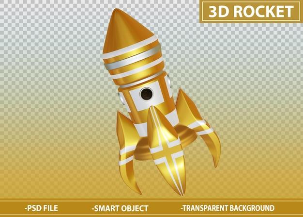 3d rocket golden