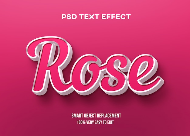 3d rose text effect