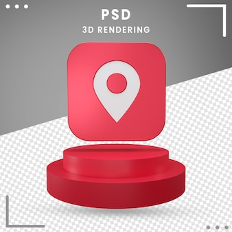 3d rotated icon location isolated