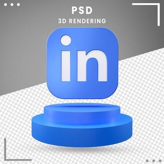 3d回転アイコンロゴlinkedln Premium Psd