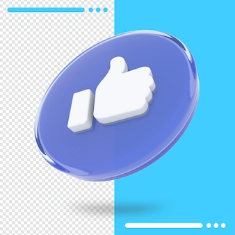 3d rotated logo of facebook in 3d rendering