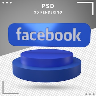 3d rotated logo facebook isolated in 3d rendering
