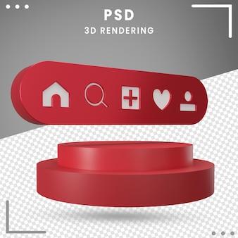 3dレンダリングで分離された3d回転ロゴアイコンホームinstagram