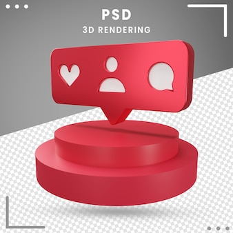 3d rotated logo icon instagram 3d rendering