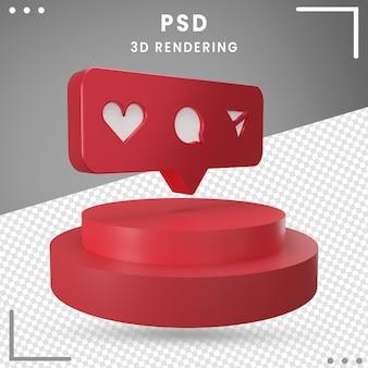 3dレンダリングで分離された3d回転ロゴアイコンinstagram