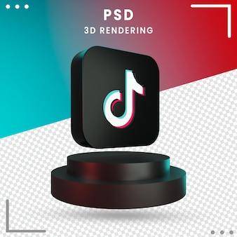 3d rotated logo icon tiktok isolated