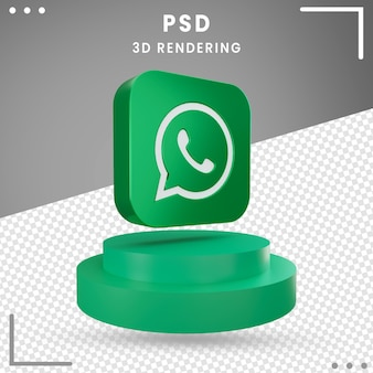 3d rotated logo icon whatsapp isolated
