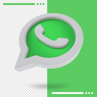 3d повернутый логотип whatsapp в 3d-рендеринге