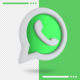3d rotated logo of whatsapp in 3d rendering