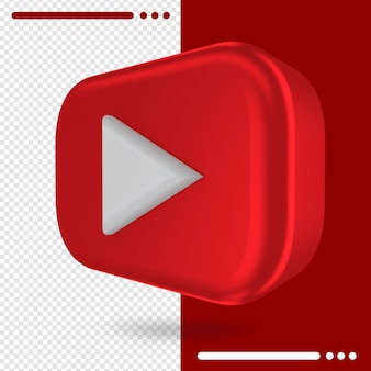 3d rotated logo of youtube in 3d rendering