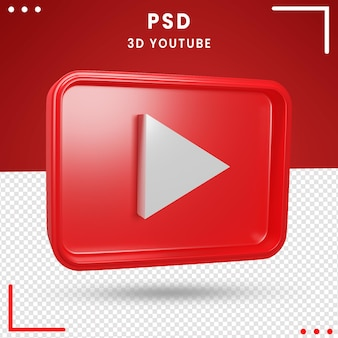 3d rotated logo of youtube