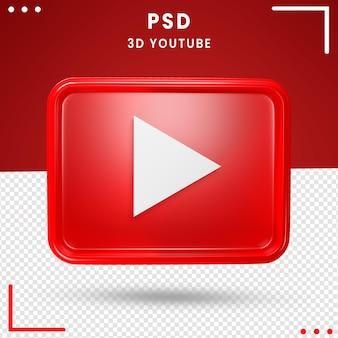 3d повернутый логотип youtube