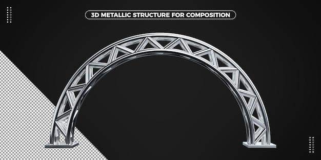 3d 원형 은색 금속 호 구조