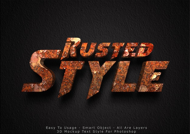 3d rusted mockup text style effect