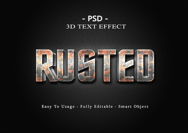 3d ржавый шаблон с эффектом стиля текста