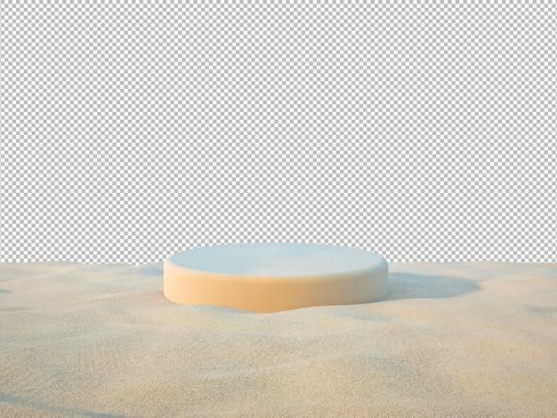 ビーチの背景に製品を表示するための3d砂表彰台