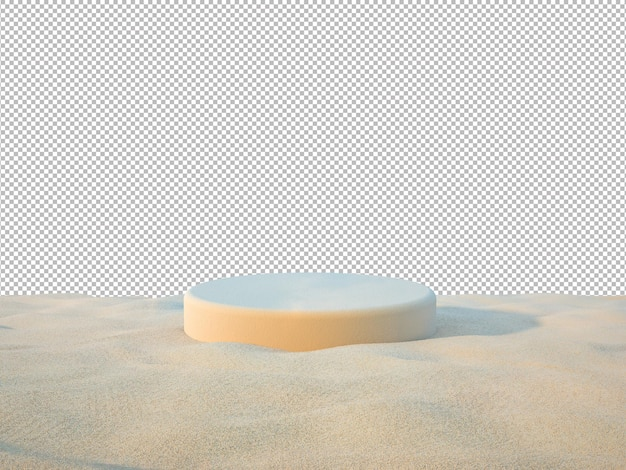3d sand podiums for showing product on the beach background