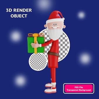 レンダリングされたギフトビューサイドイラストオブジェクトを運ぶ3dサンタクロースキャラクター