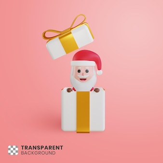 3d santa claus character surprising from the box