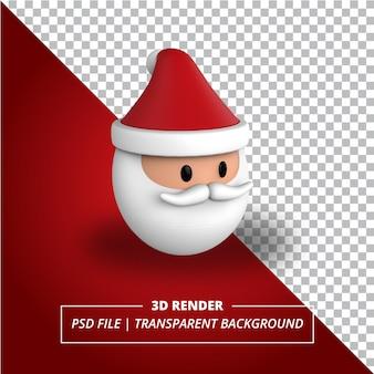 3d santa head rendered on transparent background