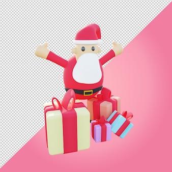 크리스마스 선물을 위한 다채로운 선물 상자가 있는 3d 산타