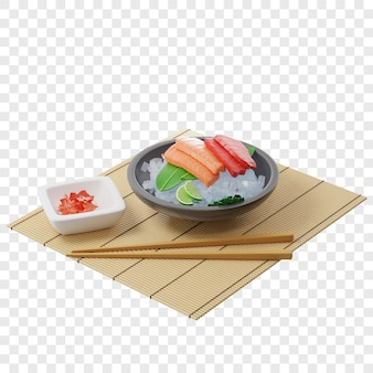 3d sashimi with tuna and salmon on bamboo leaf in plate full of ice on a bamboo mat near chopsticks