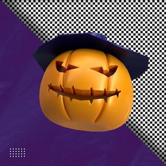 3d страшная тыква хэллоуин иллюстрация premium psd