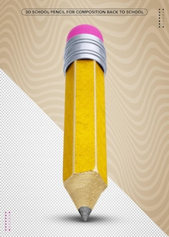 3d school pencil for back to school