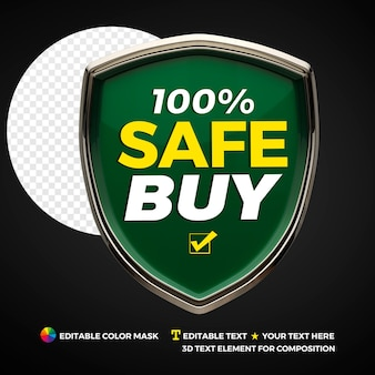 3d secure buy shield isolated for composition