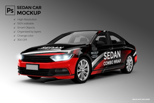 3d sedan car mockup for branding and advertising presentations