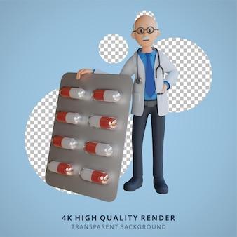 3d 수석 의사는 태블릿 캡슐 캐릭터 일러스트레이션으로 약물을 운반하고 있었습니다.