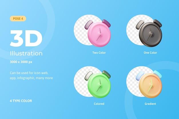 3d набор иконок иллюстрации будильника, используется для интернета, мобильных приложений, инфографики и т. д.