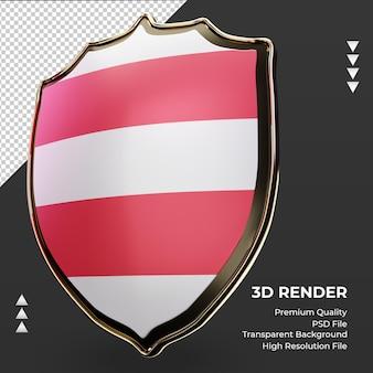 3d 방패 오스트리아 국기 렌더링 오른쪽 보기