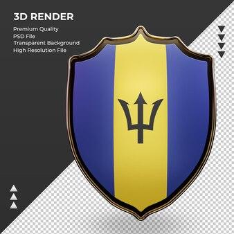 3d 방패 바베이도스 플래그 렌더링 전면 보기