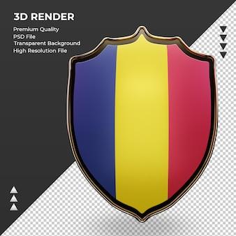 3d 방패 차드 플래그 렌더링 전면 보기