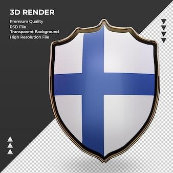 3d 방패 핀란드 국기 렌더링 전면 보기