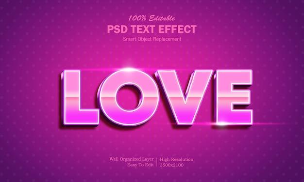 Шаблон текстового эффекта 3d shining love style 3