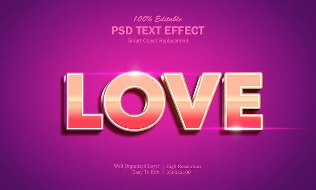 Шаблон текстового эффекта в стиле 3d shining love