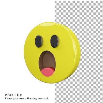 3d shocked emoticon icon high quality render psd files