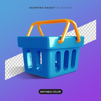3d shopping basket icon isolated