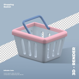 3d shopping basket icon rendering