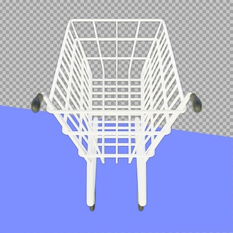 3d shopping cart rendering design isolated