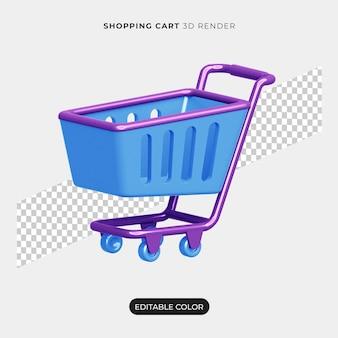 3d 쇼핑 카트 렌더링 아이콘 절연