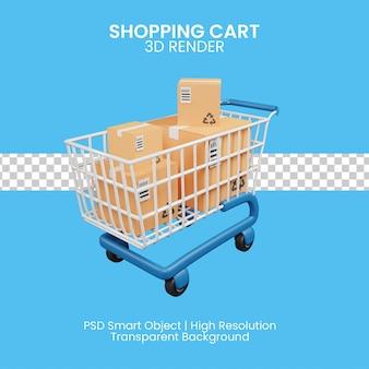 고립 된 3d 쇼핑 카트 렌더링 아이콘